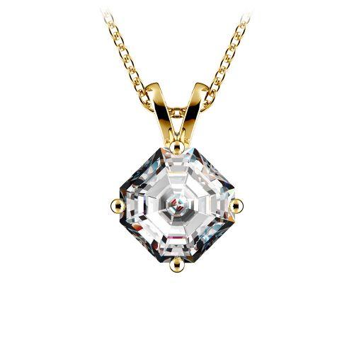 Asscher Diamond Solitaire Pendant in Yellow Gold (1 1/2 ctw)    Image 01