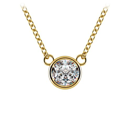 Bezel Diamond Solitaire Pendant in Yellow Gold (1/2 ctw) | Image 01
