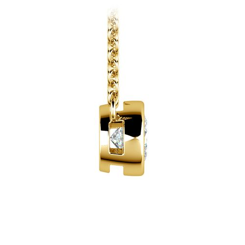 Bezel Diamond Solitaire Pendant in Yellow Gold (1/2 ctw) | Image 02