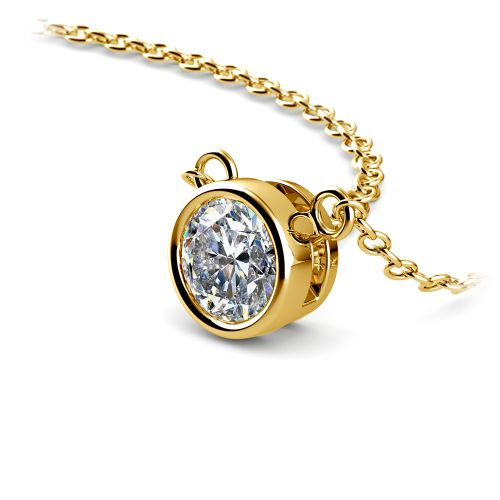 Bezel Diamond Solitaire Pendant in Yellow Gold (1/2 ctw) | Image 03