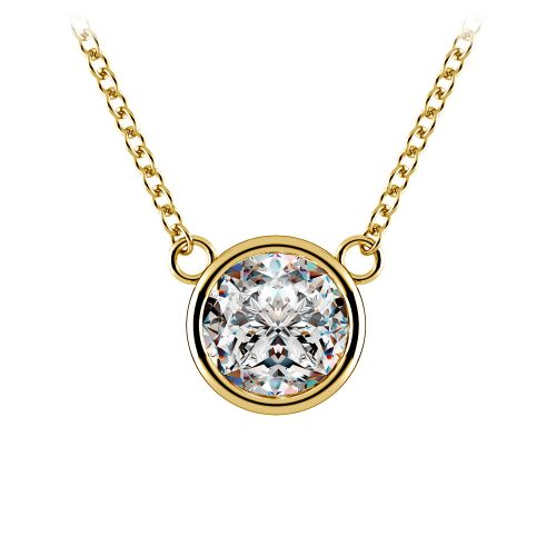 Bezel Diamond Solitaire Pendant in Yellow Gold (1 1/2 ctw) | Image 01