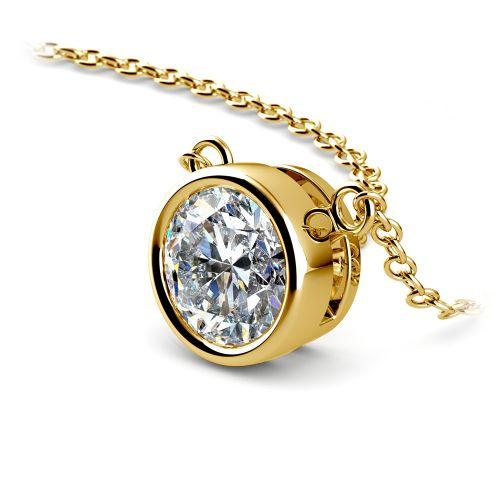 Bezel Diamond Solitaire Pendant in Yellow Gold (1 1/2 ctw) | Image 03