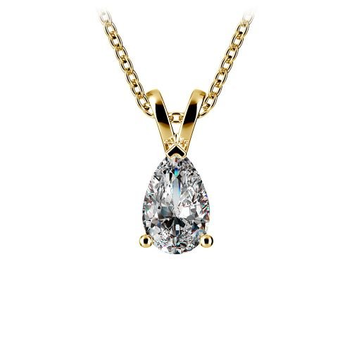 Pear Diamond Solitaire Pendant in Yellow Gold (1/2 ctw) | Image 01