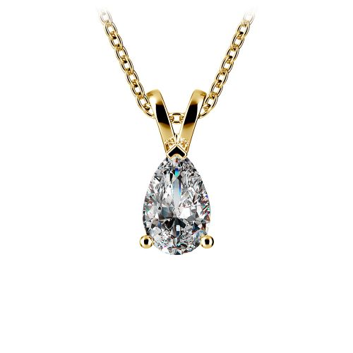 Pear Diamond Solitaire Pendant in Yellow Gold (1/2 ctw)   Image 01