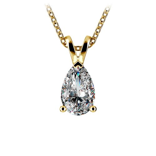 Pear Diamond Solitaire Pendant in Yellow Gold (1 1/2 ctw) | Image 01