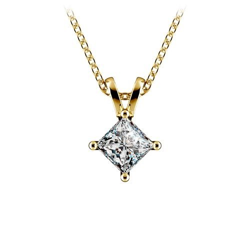 Princess Diamond Solitaire Pendant in Yellow Gold (1/2 ctw)  | Image 01