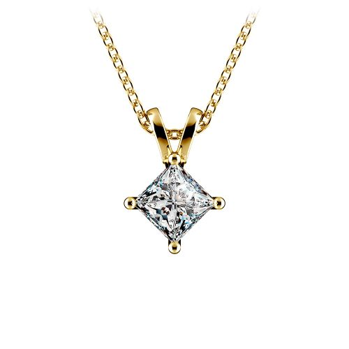 Princess Diamond Solitaire Pendant in Yellow Gold (1/2 ctw)  | Image 01