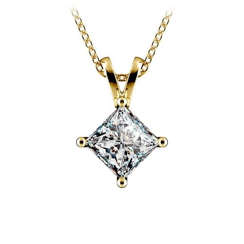 Princess Diamond Solitaire Pendant in Yellow Gold (1 1/2 ctw)  | Image 01
