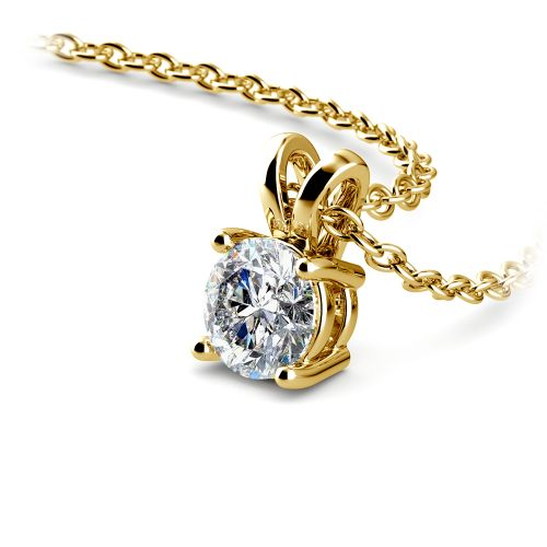 Round Diamond Solitaire Pendant in Yellow Gold (1/2 ctw) | Image 03