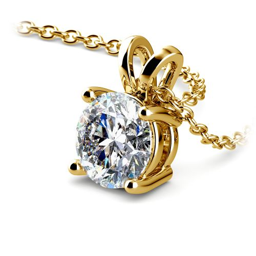 Round Diamond Solitaire Pendant in Yellow Gold (1 1/2 ctw) | Image 03