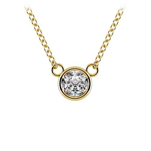 Bezel Diamond Solitaire Pendant in Yellow Gold (1/3 ctw) | Image 01
