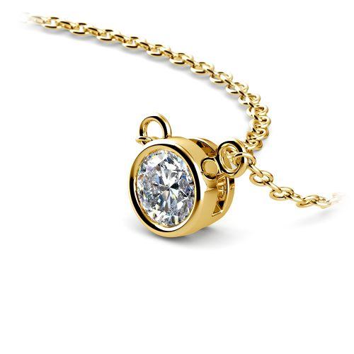Bezel Diamond Solitaire Pendant in Yellow Gold (1/3 ctw) | Image 03