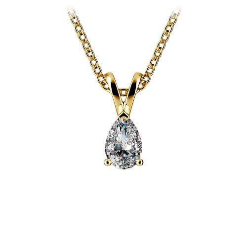 Pear Diamond Solitaire Pendant in Yellow Gold (1/3 ctw) | Image 01
