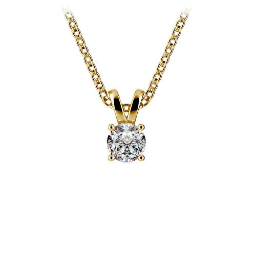 Round Diamond Solitaire Pendant in Yellow Gold (1/3 ctw) | Image 01
