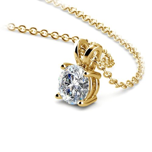 Round Diamond Solitaire Pendant in Yellow Gold (1/3 ctw) | Image 03