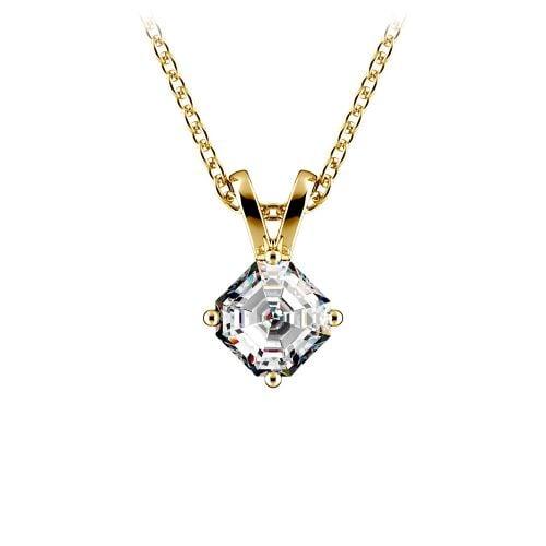 Asscher Diamond Solitaire Pendant in Yellow Gold (1/4 ctw)  | Image 01