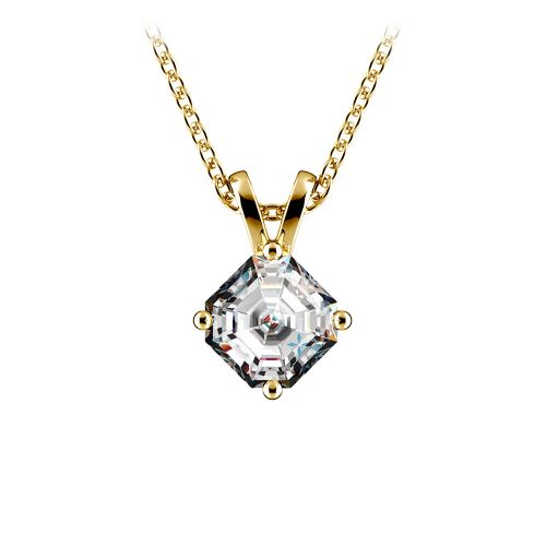 Asscher Diamond Solitaire Pendant in Yellow Gold (3/4 ctw)  | Image 01