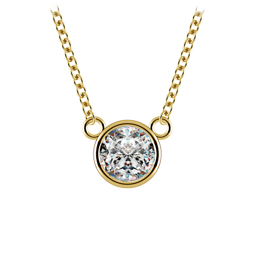 Bezel Diamond Solitaire Pendant in Yellow Gold (3/4 ctw) | Image 01