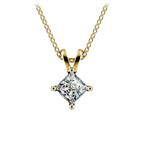 Princess Diamond Solitaire Pendant in Yellow Gold (3/4 ctw)    Image 01