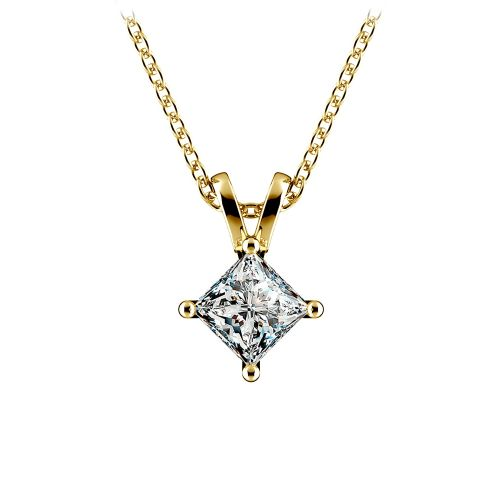 Princess Diamond Solitaire Pendant in Yellow Gold (3/4 ctw)  | Image 01