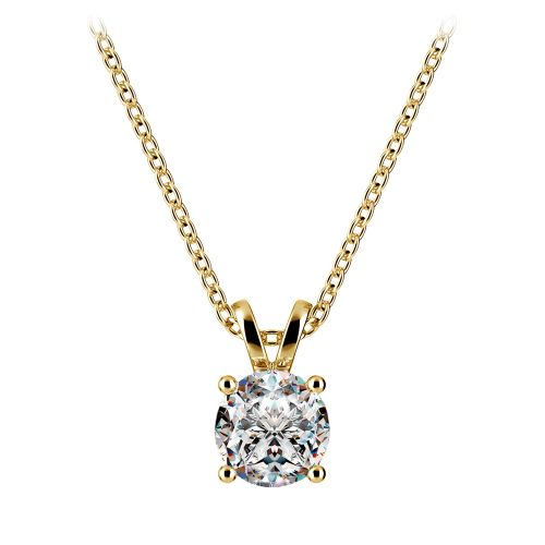 Round Diamond Solitaire Pendant in Yellow Gold (3/4 ctw) | Image 01