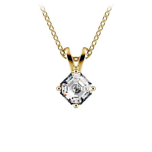 Asscher Diamond Solitaire Pendant in Yellow Gold (1/5 ctw)  | Image 01