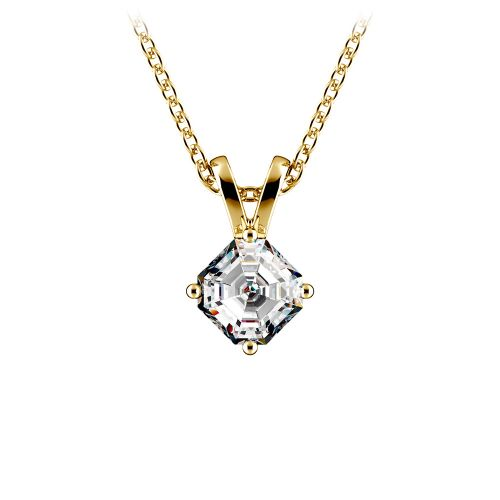 Asscher Diamond Solitaire Pendant in Yellow Gold (1/5 ctw)  | Image 01