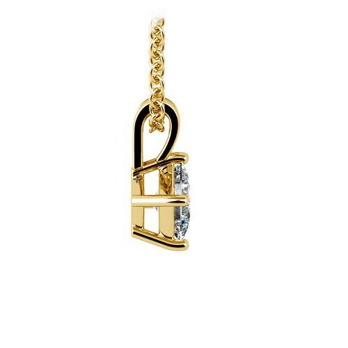 Asscher Diamond Solitaire Pendant in Yellow Gold (1/5 ctw)  | Image 02