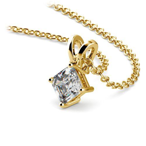 Asscher Diamond Solitaire Pendant in Yellow Gold (1/5 ctw)  | Image 03