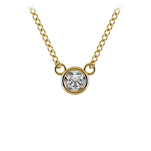 Bezel Diamond Solitaire Pendant in Yellow Gold (1/5 ctw) | Image 01
