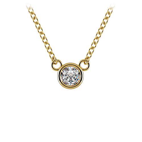 Bezel Diamond Solitaire Pendant in Yellow Gold (1/5 ctw) | Image 01