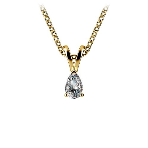 Pear Diamond Solitaire Pendant in Yellow Gold (1/5 ctw) | Image 01