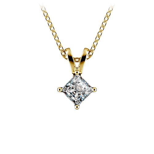 Princess Diamond Solitaire Pendant in Yellow Gold (1/5 ctw)  | Image 01