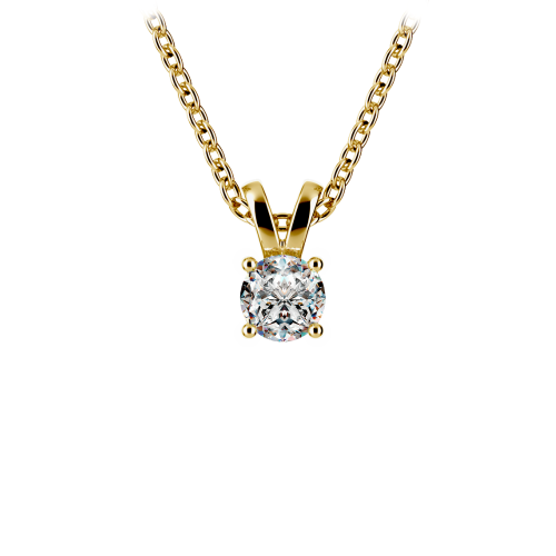 Round Diamond Solitaire Pendant in Yellow Gold (1/5 ctw) | Image 01