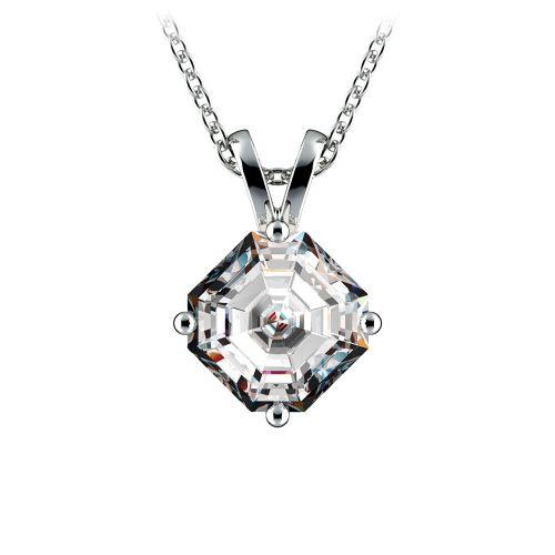 Asscher Diamond Solitaire Pendant in Platinum (1 1/2 ctw)  | Image 01