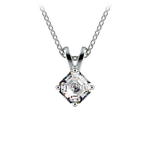 Asscher Diamond Solitaire Pendant in Platinum (1/4 ctw)  | Image 01