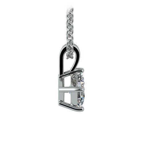 Asscher Diamond Solitaire Pendant in Platinum (1/5 ctw)  | Image 02