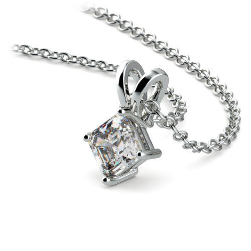 Asscher Diamond Solitaire Pendant in Platinum (1/5 ctw)  | Image 03