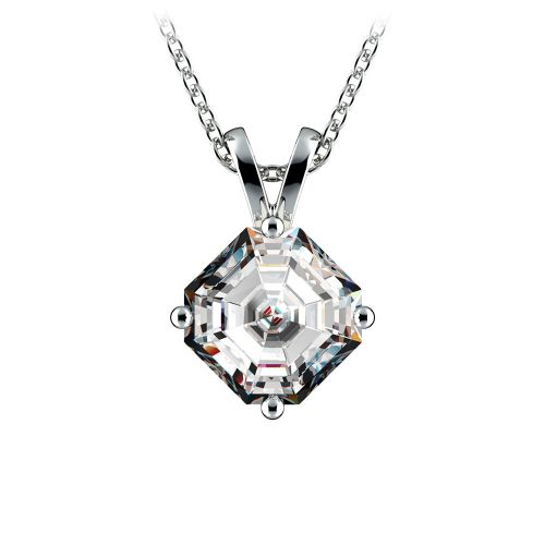 Asscher Diamond Solitaire Pendant in White Gold (1 1/2 ctw)  | Image 01