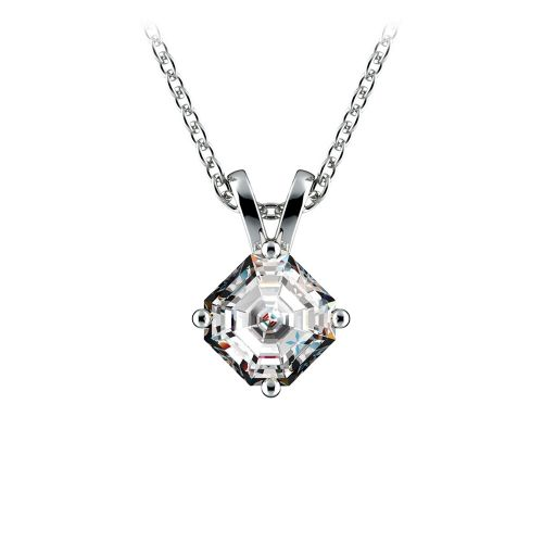 Asscher Diamond Solitaire Pendant in White Gold (1/2 ctw)  | Image 01