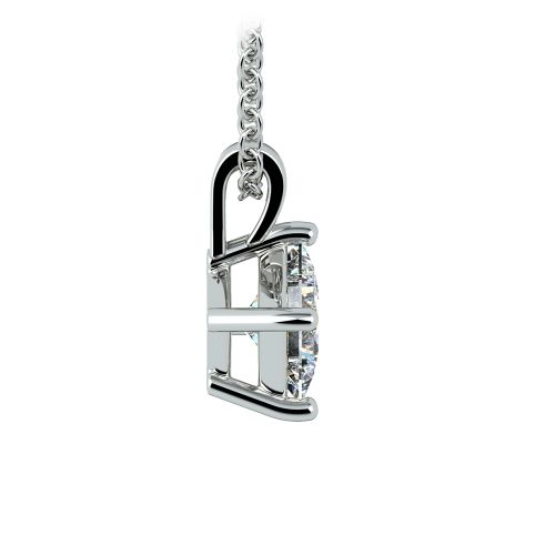 Asscher Diamond Solitaire Pendant in White Gold (1/2 ctw)  | Image 02