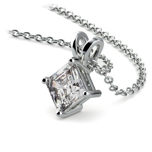 Asscher Diamond Solitaire Pendant in White Gold (1/2 ctw)  | Image 03
