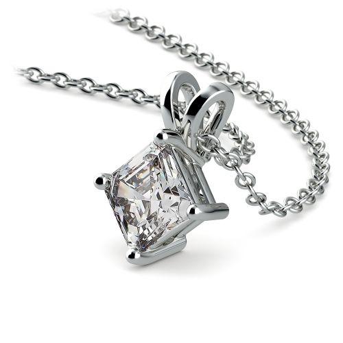 Asscher Diamond Solitaire Pendant in White Gold (1/2 ctw)  | Image 03