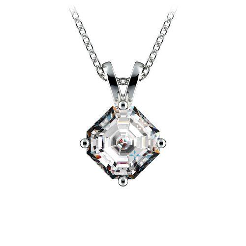 Asscher Diamond Solitaire Pendant in White Gold (1 ctw)  | Image 01