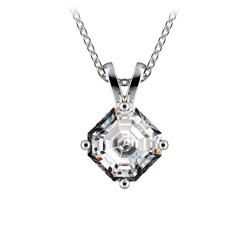 Asscher Diamond Solitaire Pendant in White Gold (1 ctw)  | Image 01