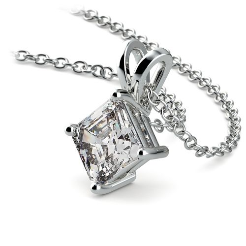 Asscher Diamond Solitaire Pendant in White Gold (1 ctw)  | Image 03