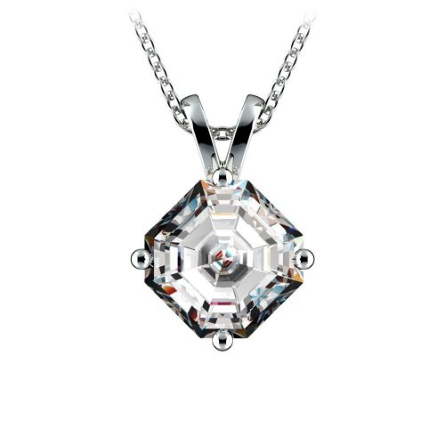Asscher Diamond Solitaire Pendant in White Gold (2 ctw)  | Image 01