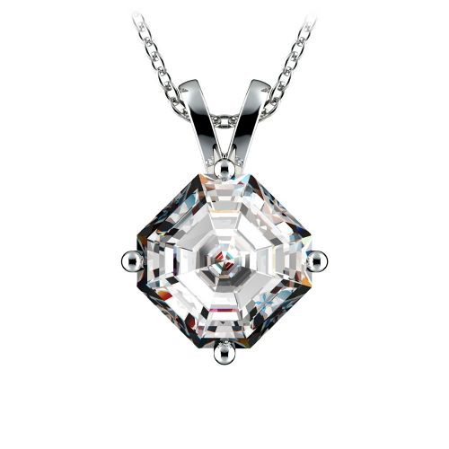 Asscher Diamond Solitaire Pendant in White Gold (3 ctw)  | Image 01
