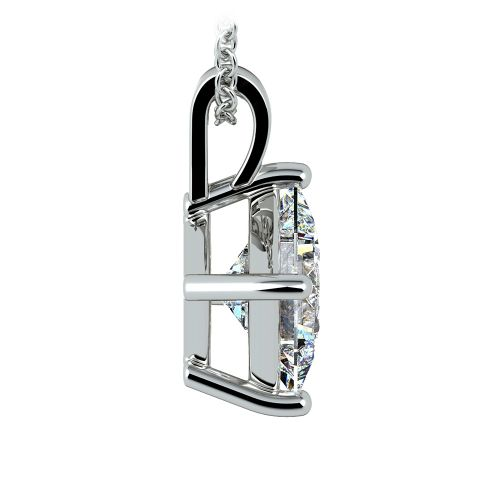 Asscher Diamond Solitaire Pendant in White Gold (3 ctw)  | Image 02