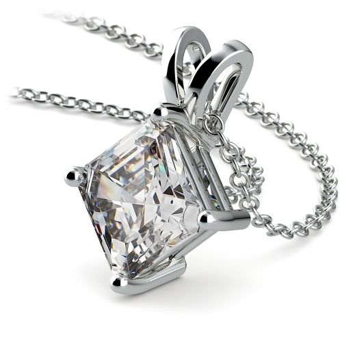 Asscher Diamond Solitaire Pendant in White Gold (3 ctw)  | Image 03